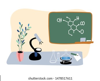 Empty chemistry class flat vector illustration. Classroom interior with no people. School education, chemical experiment equipment. Substance formula on blackboard. Microscope and flasks on table