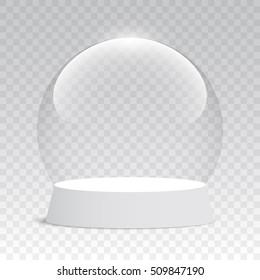 Empty Christmas snow globe on transparent background. Glass sphere. Vector illustration.