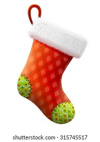 Empty christmas stocking isolated on white. Decorative red sock with white fur and patches. Vector illustration for christmas, new year, decoration, winter holiday, silvester, tradition, etc
