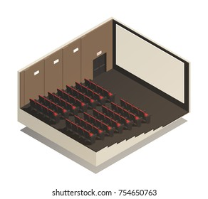 Empty cinema auditorium isometric composition with rows of spectator seats  and wide screen 3d vector illustration