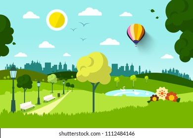 Empty City Park with Flowers and Trees - Vector
