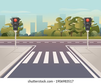 Empty city road with pedestrian crossing and traffic lights sunny day with clear sky vector illustration
