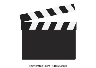 Empty clapperboard on white background.