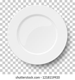 Empty classic white plate isolated on transparent background. View from above. Vector illustration.