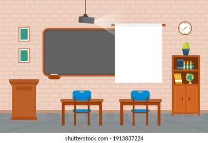 Empty Classroom Interior Education Elementary School Class Nobody Illustration