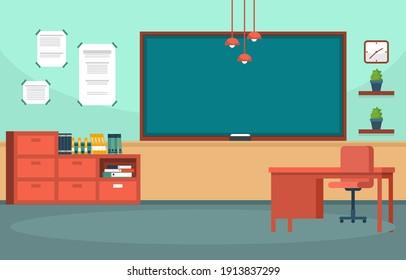 Empty Classroom Interior Education High School Class Nobody Illustration