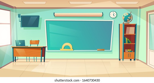 Empty classroom interior, school or college class with teacher table, laptop, green blackboard with protractor, clock hanging on wall and books cupboard, room for studying. Cartoon vector illustration