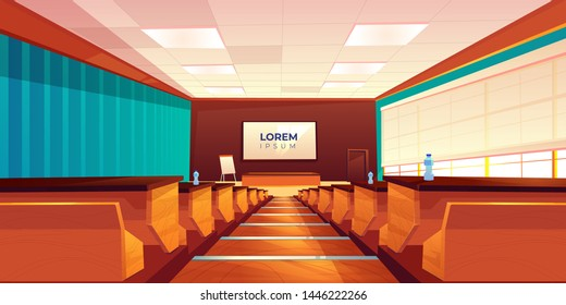 Empty classroom, lecture hall, theater or meeting room interior, modern university auditorium with wooden rows of seats, desk, blackboard screen and flipchart on stage, Cartoon vector illustration