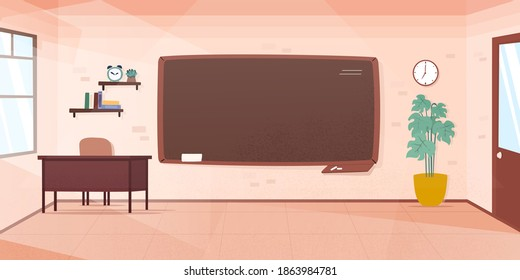 Empty classroom. School Education background. Empty school classroom. Classroom interior. Meeting room. Vector cartoon empty elementary or high school, college university classroom.