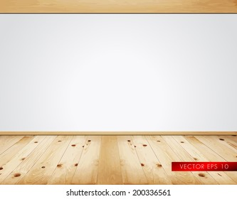 Empty clean interior with white wall and natural wooden rustic floor - vector