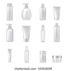 Empty clear cosmetics bottles jars tubes sprays dispensers for beauty and health products realistic images collection vector illustration