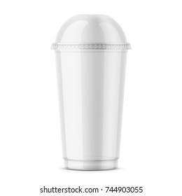 Empty clear plastic disposable cup with dome lid for cold beverage - soda, ice tea or coffee, cocktail, milkshake, juice. 450 ml. Realistic packaging mockup template. Front view. Vector illustration.