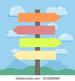 Empty colorful direction signs with landscape in background. Vector illustration.