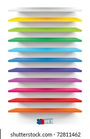 Empty colorful shelves