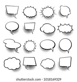 Empty comic collection trendy cloud pop art vector comic box. Comics book background template. Vector illustration.
