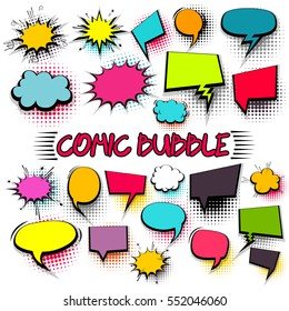 Empty comic collection trendy colored cloud pop art vector comic box. Set message comic bubble speech cartoon expression illustration. Comics book background template