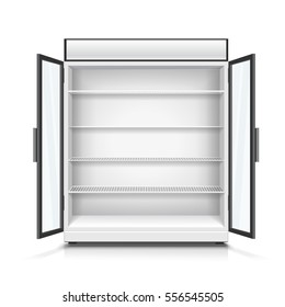 Empty commercial fridge with shelves and opened doors. Realistic isolated vector illustration