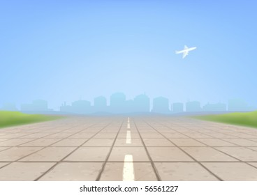 Empty concrete airport runway in the foreground and an airplane taking off in the background (AI-optimized EPS 8 file, other landscapes are in my gallery)