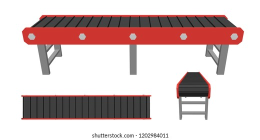 Empty conveyor belt. Isolated on white background. 3d Vector illustration. Different viewes.