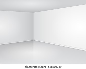 Empty corner in the room with clean white walls