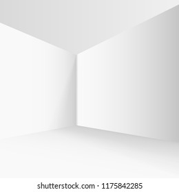 Empty corner in the room with gray walls. Imitation of 3d. Vector illustration