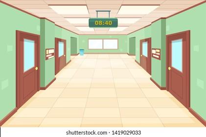 Empty corridor with closed doors and windows. Interior large hallway school, college or university. Education concept.