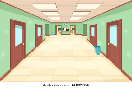Empty corridor with closed and open doors. The interior of the school, college or university. Education concept.