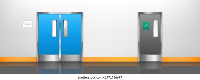 Empty corridor with double doors to hospital room, laboratory or restaurant kitchen. Vector cartoon interior of hall in medical clinic, waiting area or lobby with doors to lab and to stairs