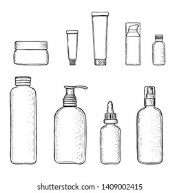 Empty cosmetics containers: bottles with spray, dispenser and dropper, cream jar, vial, flagon, tube. Set vector blank templates. Sketch style ink pen packages for decorative cosmetics.