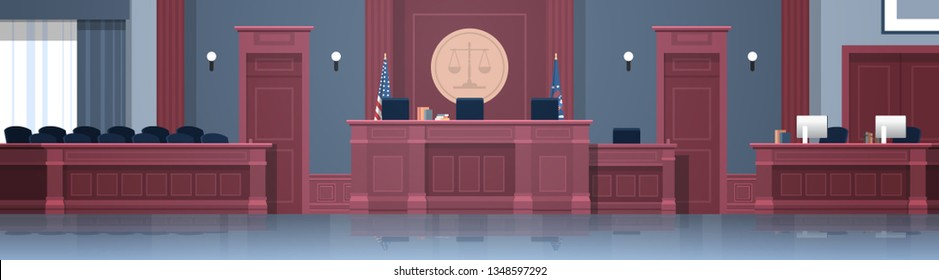Empty courtroom with judge and secretary workplace, jury box seats modern courthouse interior justice and jurisprudence concept horizontal banner
