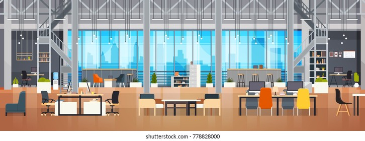 Empty Coworking Space Interior Modern Coworking Office Creative Workplace Space Horizontal Banner Flat Vector Illustration