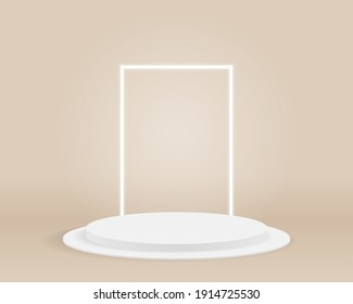 Empty cylinder podium on minimal background. Abstract minimal scene with geometrical forms. Design for product presentation. 3d vector illustration.