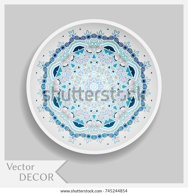Awe Inspiring Empty Decorative Dish Porcelain Plate Mandala Stock Vector Home Remodeling Inspirations Basidirectenergyitoicom