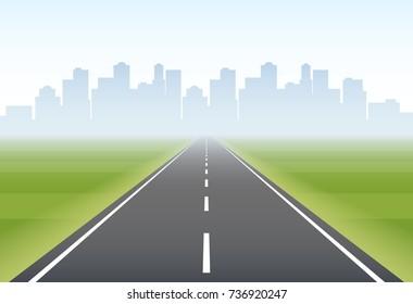 Empty direct road to city on horizon