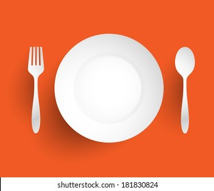 Empty dish, fork and spoon placed alongside. On orange background vector illustration