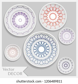 Empty dish, porcelain plate mock up design, isolated objects. Set of six decorative plates with colorful Mandala ornament patterns, art presentation. Interior decoration, home decor background