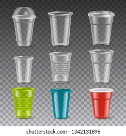 Empty disposable colorful plastic glasses with and without lids realistic set isolated on transparent background vector illustration