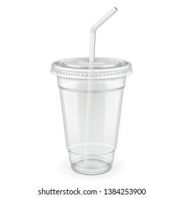 Empty Disposable Plastic Paper Carton Cup With Lid And Straw. Transparent Container For Cold, Hot Drink. Juice Fresh, Coffee, Tea, Milkshake. Illustration Isolated On White Background Mock Up Template