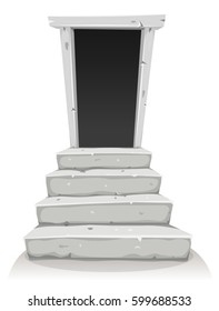 Empty Door On Stairway/ Illustration of a cartoon empty door with stone stairway, symbolizing a gate to another world