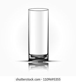 Empty drinking glass cup isolated. Vector illustration.