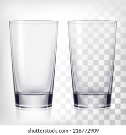 Empty drinking glass cup. Transparent glass.