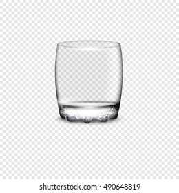 Empty drinking glass cup. Vector illustration with transparency