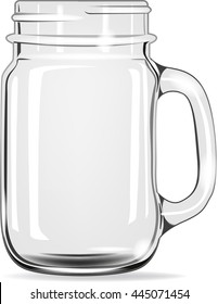 Empty drinking jar for water, juice,smoothies. Vector isolated