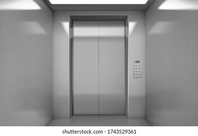 Empty elevator cabin with closed steel doors inside view. Vector realistic interior of passenger lift with buttons panel and digital display with number of floor in house or office building