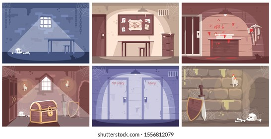 Empty escape room flat vector illustrations set. Labyrinth, prison cell. Getting out of trap, searching solution, crime investigation, solving mysteries. Quest room game. Modern entertainment
