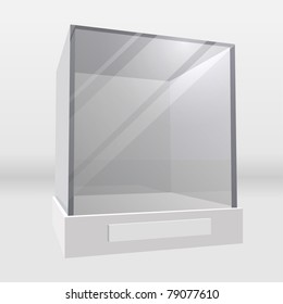 Empty exhibition or museum glass display cabinet realistic vector illustration.