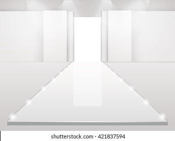 Empty fashion runway podium stage interior vector design