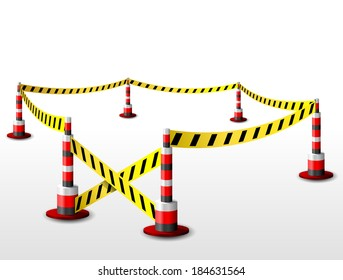 Empty fenced restricted area. Zone with barrier tape and bollards. Qualitative vector (EPS-10) illustration for security, protection, enclosure, etc. It has transparency, blending modes, gradients