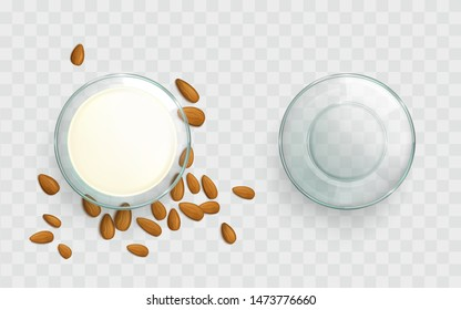 Empty, filled with almond milk glass bowl, scattered around almond nuts top view 3d realistic vector isolated on transparent background. Natural, organic vegetarian culinary food product illustration