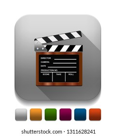 Empty film clapper With long shadow over app button